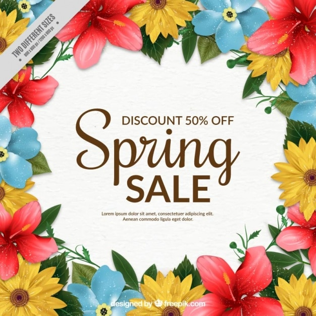 Spring Sale: Spring Sale Background With Colorful Flowers Vector