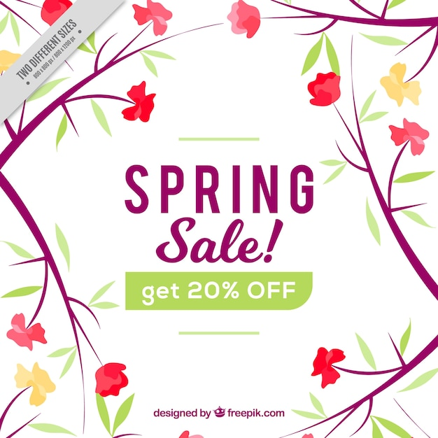 Spring Sale: Spring Sale Background With Floral Decoration Vector