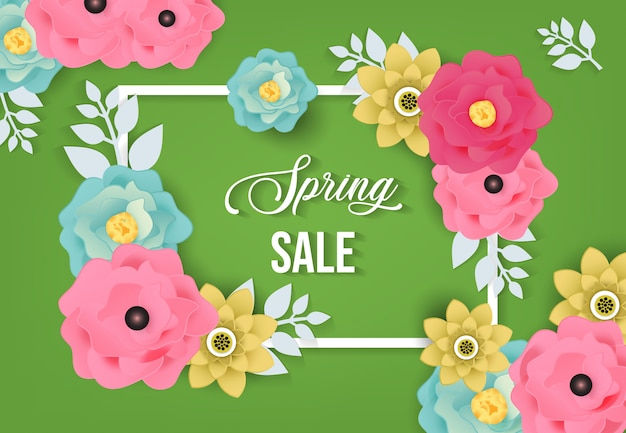 Spring sale background with flower pattern Premium Vector