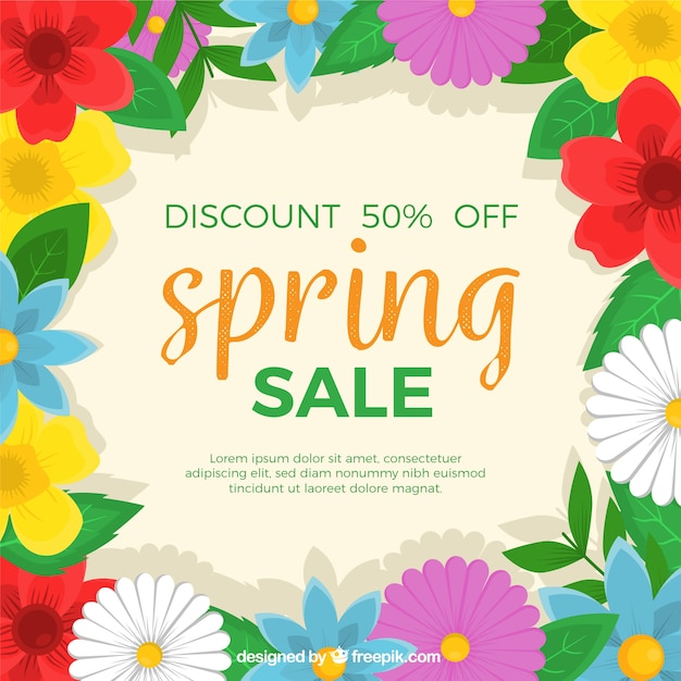 Spring Sale: Spring Sale Background With Flowers On Borders Vector
