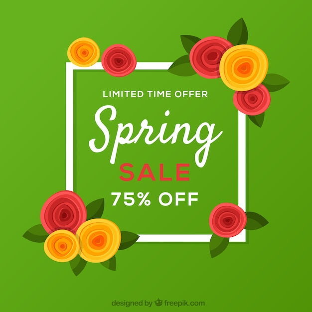 Spring sale background with frame Free Vector