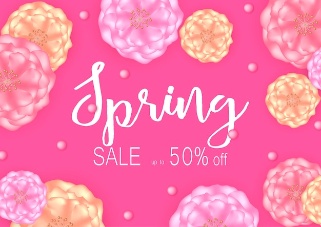 Spring sale banner background with beautiful flowers. Premium Vector