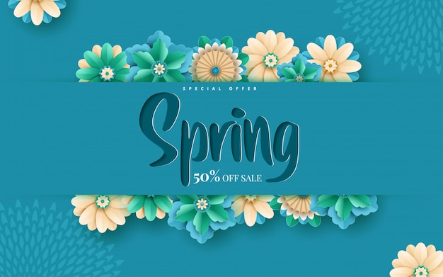 Spring sale banner template with paper cut frame Premium Vector