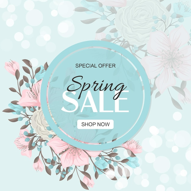 Spring sale banner with beautiful colorful flowers. Free Vector