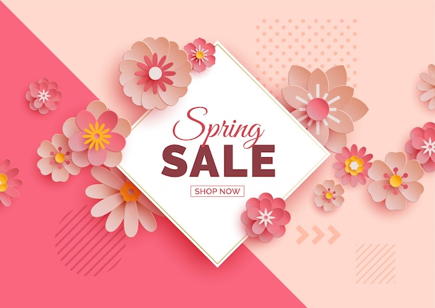 Spring sale banner with paper flowers Premium Vector