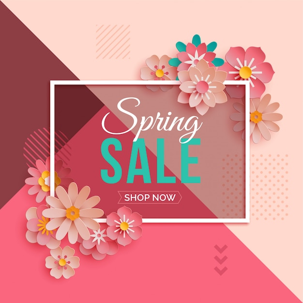 Spring sale banner with pink paper flowers Premium Vector