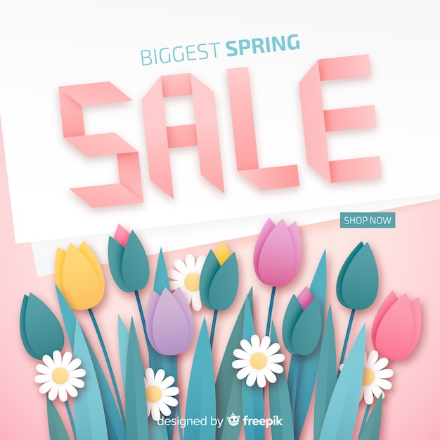 Spring sale banner Free Vector