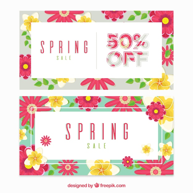 Spring Sale: Spring Sale Banners In Flat Style Vector