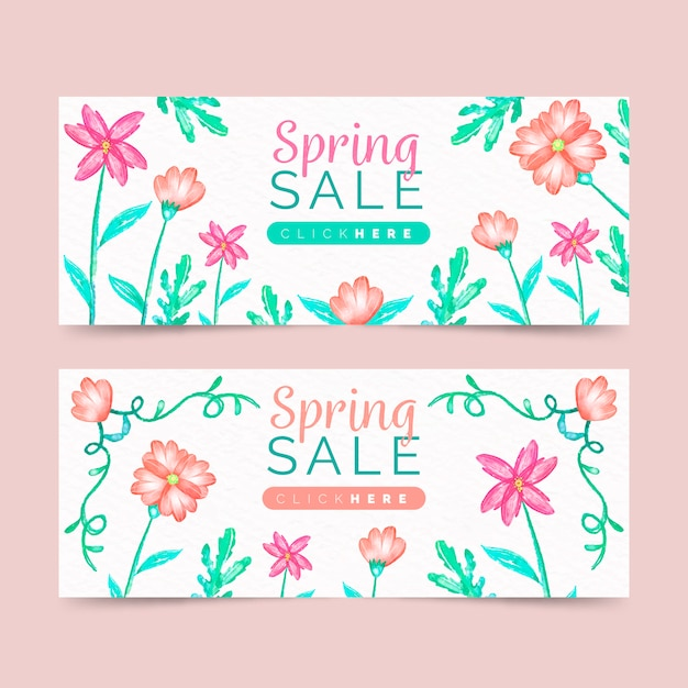 Spring sale banners set Free Vector
