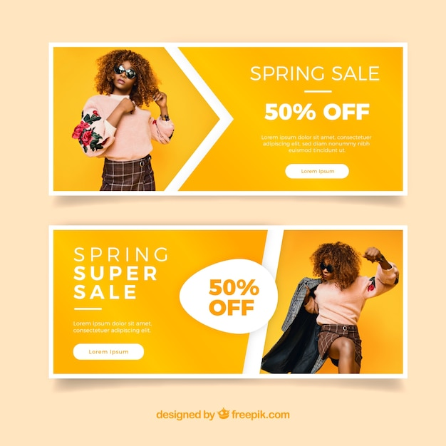 Spring sale banners with a girl's photo Free Vector