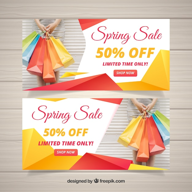 Spring sale banners with abstract shapes Free Vector