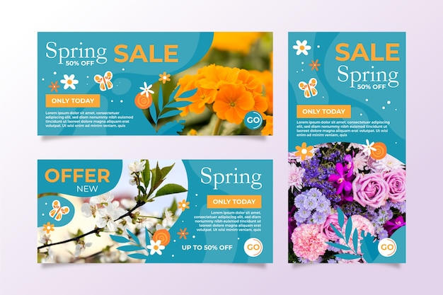 Весенняя распродажа баннеров с яркими цветами Бесплатные векторы