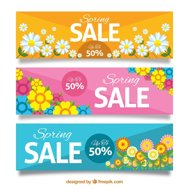 Spring Sale: Spring Sale Banners With Flowers Vector