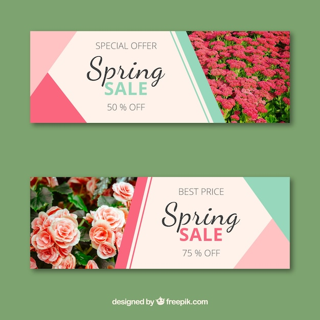 Spring sale banners with photo of roses Free Vector