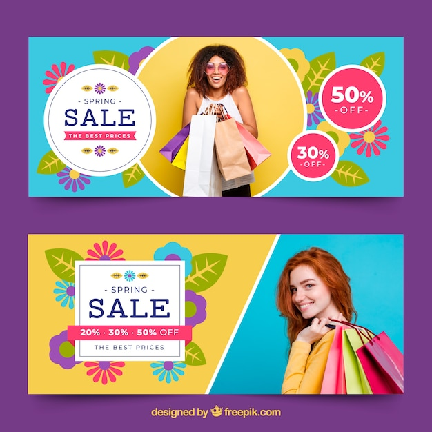 Spring sale banners with photo of woman Free Vector