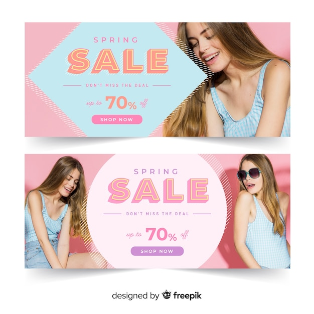 Spring sale banners with photo Free Vector