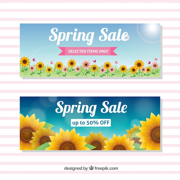 Spring Sale: Spring Sale Banners With Sunflowers Vector