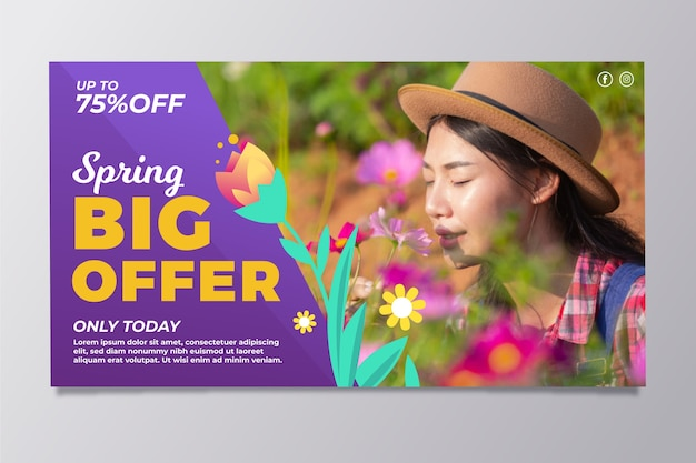 Spring sale banners with woman smelling flowers Free Vector