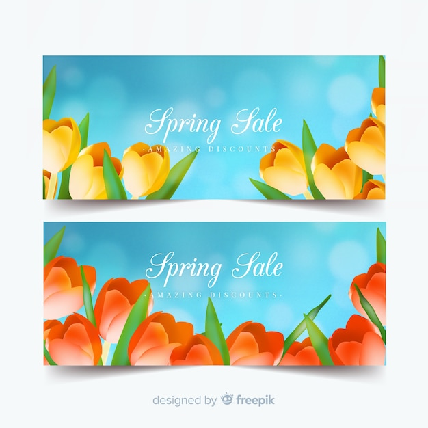 Spring sale banners Vector | Free Download