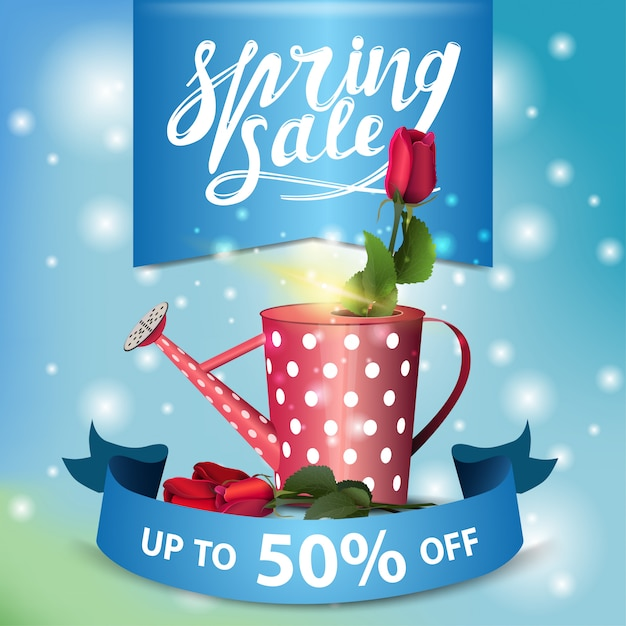 Spring sale blue modern banner with rose in the watering can Premium Vector