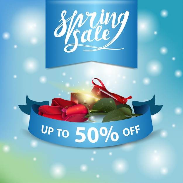 Spring sale blue modern banner with roses with gift Premium Vector