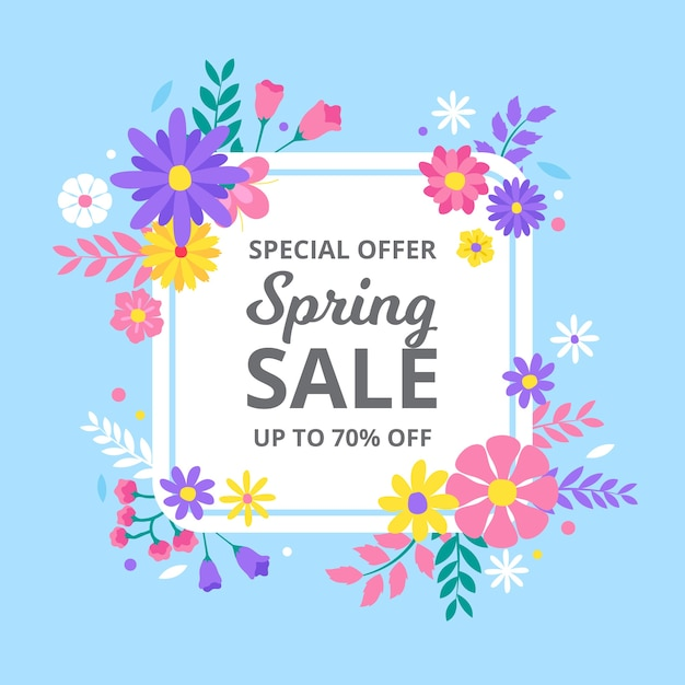 Spring sale in colorful floral design Free Vector