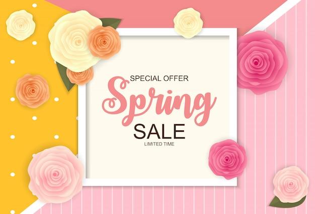 Spring sale cute banner Premium Vector