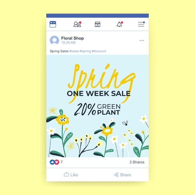 Post facebook di saldi di primavera Vettore gratuito