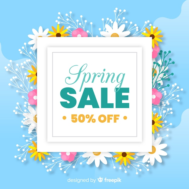 Spring sale flat background Free Vector