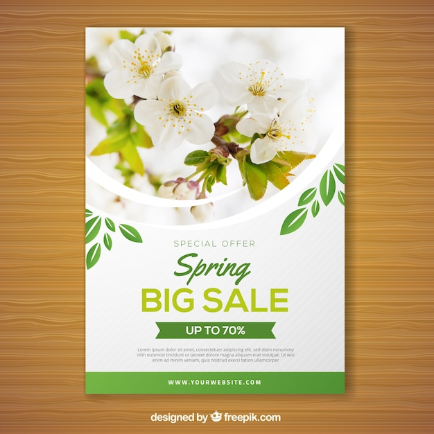 Spring Sale Flyer Template With Photo Vector  Free Download