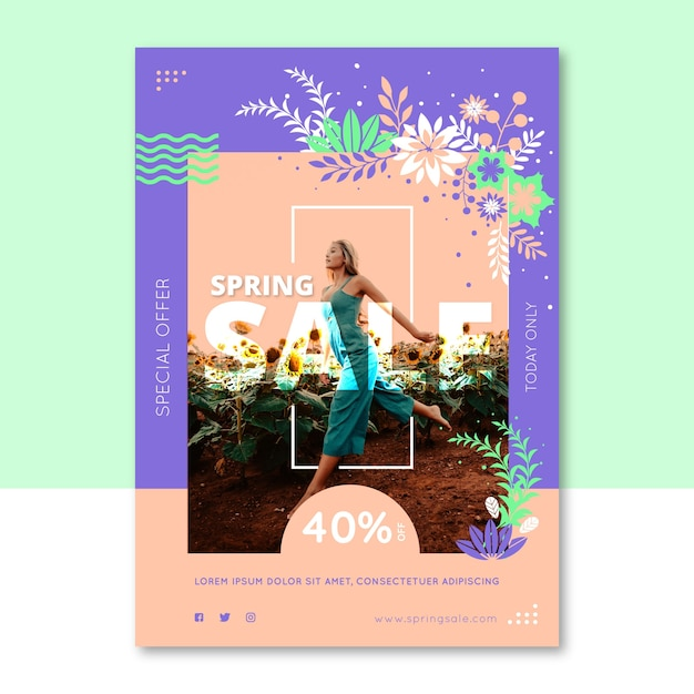 Spring sale flyer template with woman running through field of sunflowers Free Vector