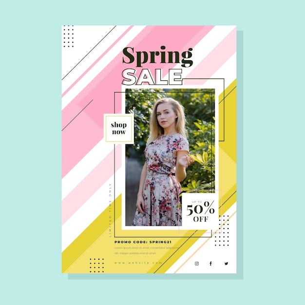봄 판매 전단지 템플릿 무료 벡터