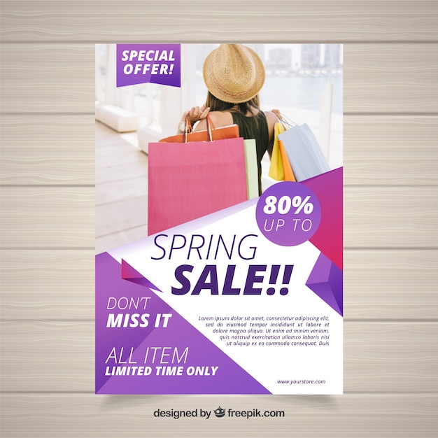 Spring sale flyer with abstract shapes Free Vector