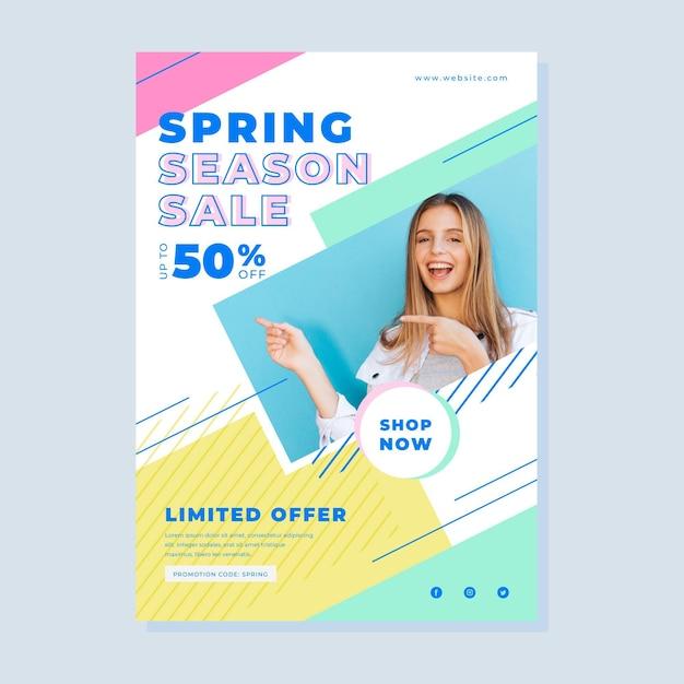 사진과 함께 봄 판매 전단지 무료 벡터