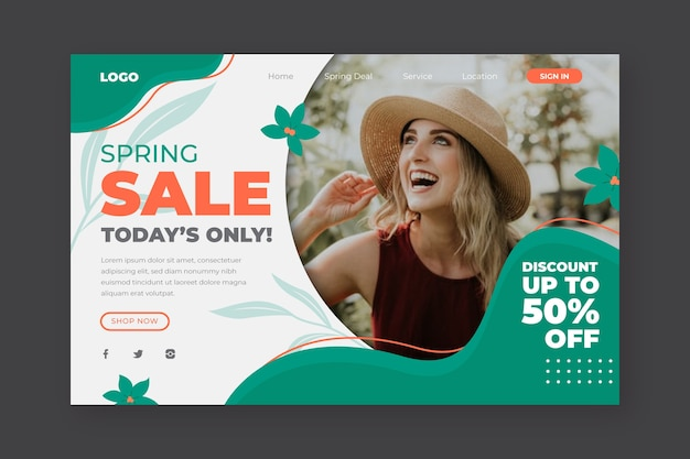 Spring sale and happy girl landing page Free Vector