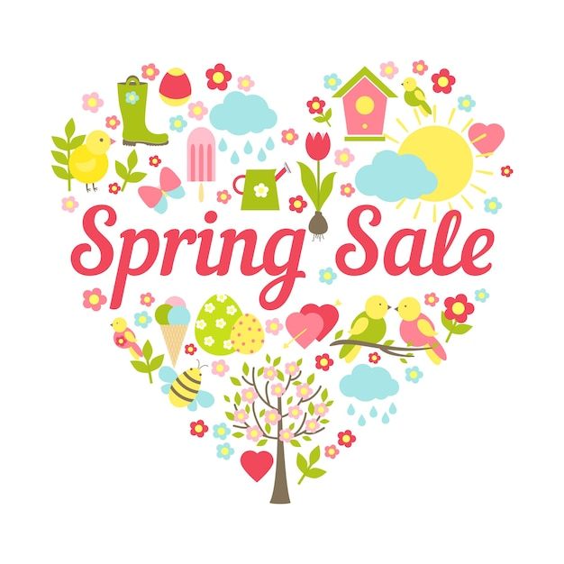 Intestazione di vendita di primavera in illustrazione vettoriale di decorazione a forma di cuore Vettore gratuito