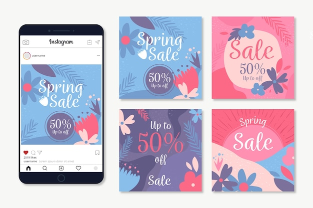 Spring sale instagram post collection with flowers Free Vector