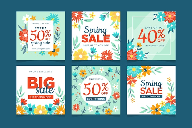 Spring sale instagram post collection Free Vector