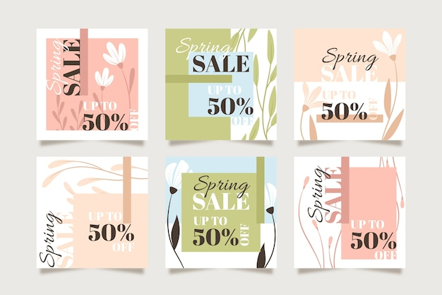 Spring sale instagram post pack Free Vector