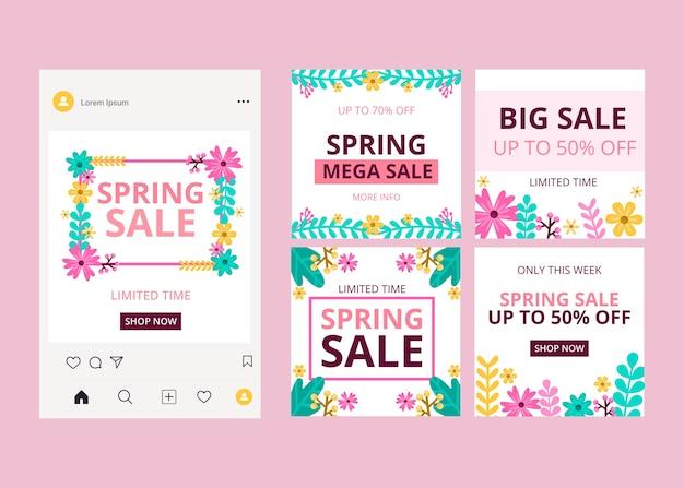 Spring sale instagram posts pack Free Vector