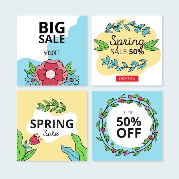 Post di instagram di vendita di primavera Vettore gratuito