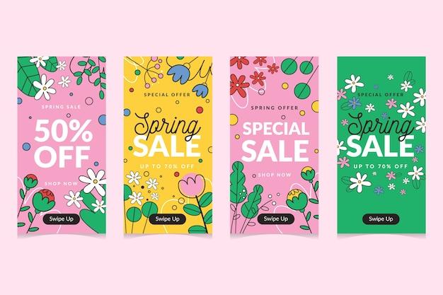 Spring sale instagram story set Free Vector