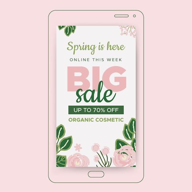 Storia di instagram di vendita di primavera Vettore gratuito