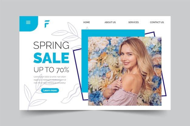 春セールのランディングページのコンセプト 無料ベクター