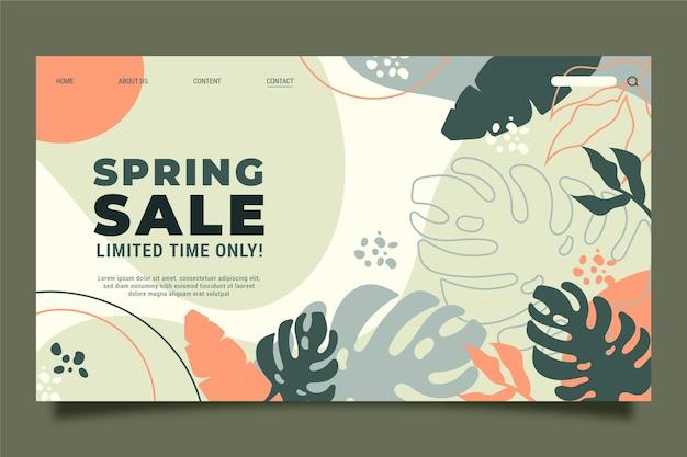 春のセールのランディングページテンプレート 無料ベクター