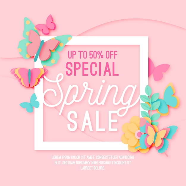 Spring sale in paper style Free Vector