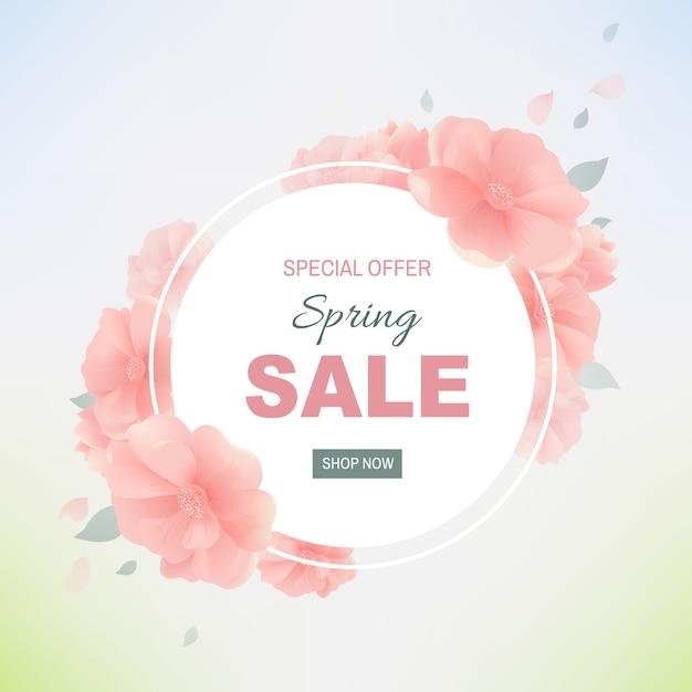 Spring sale poster Premium Vector