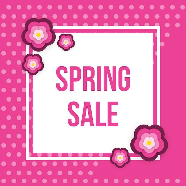 Весна продажа квадратных баннер с цветами. Premium векторы