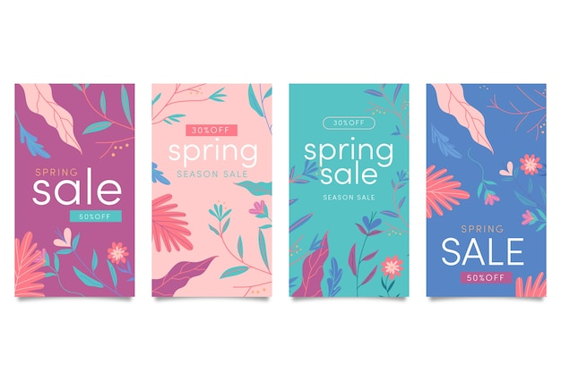 Spring sale stories collection Free Vector