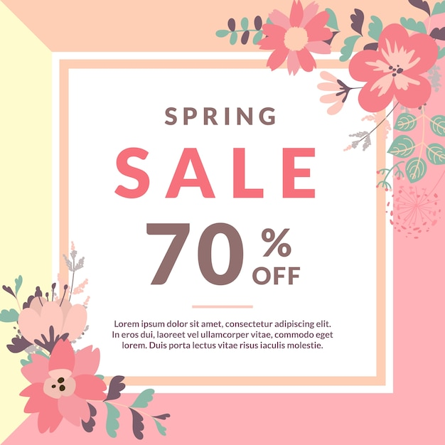 Spring Sale: Spring Sale Template With Flower Vector